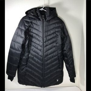Spyder puffer parka women's size large black NWT